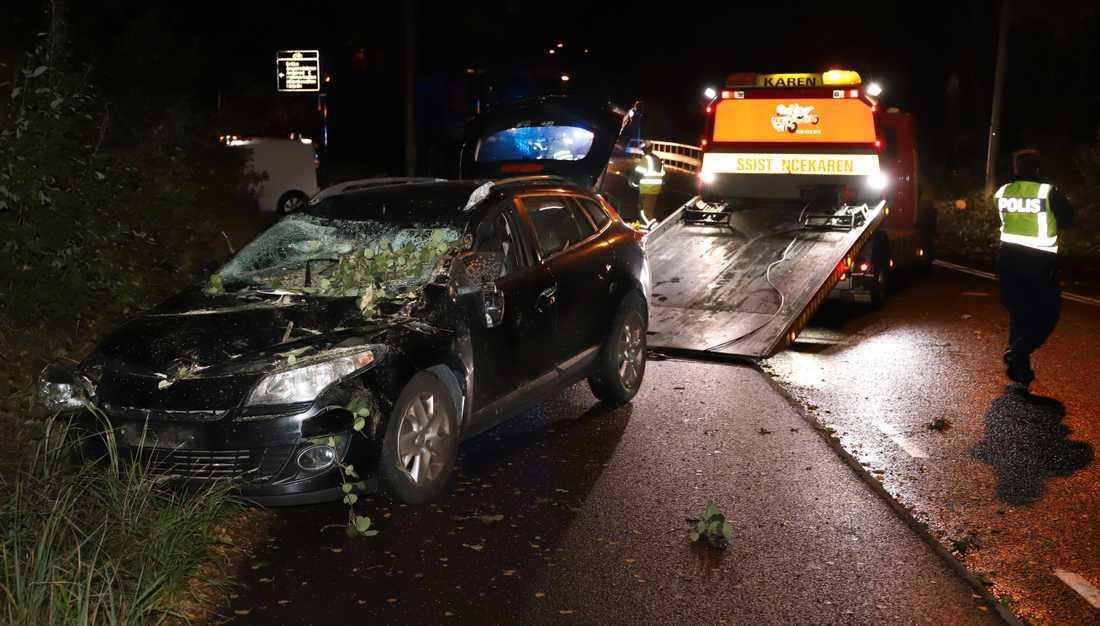 Träd föll över personbil som två personer satt i.