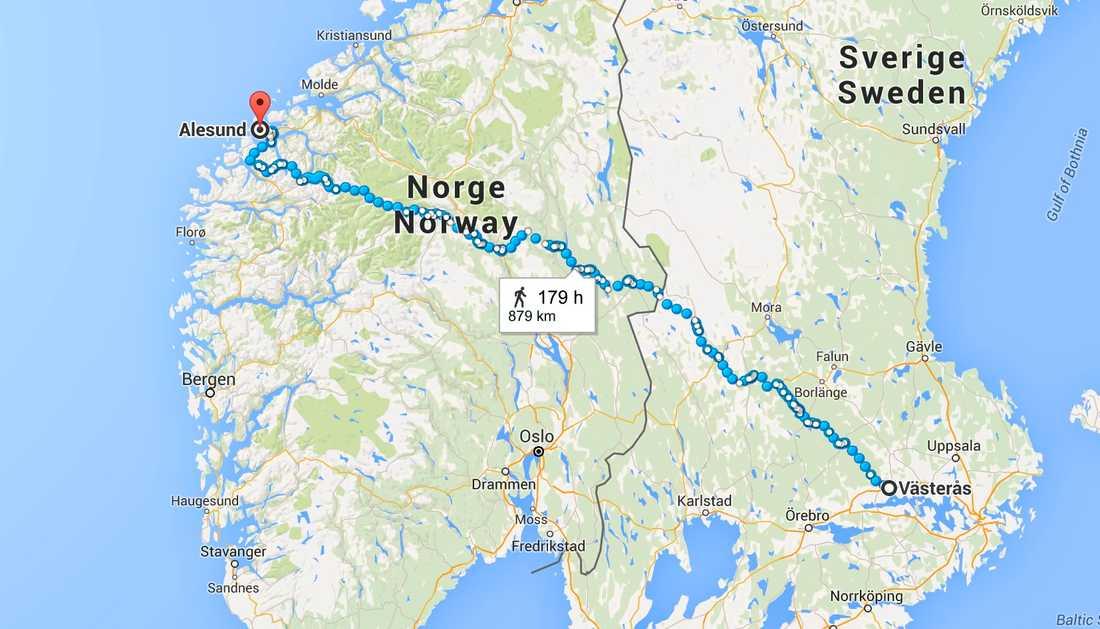 Det är 88 mil mellan Västerås och norska Ålesund.