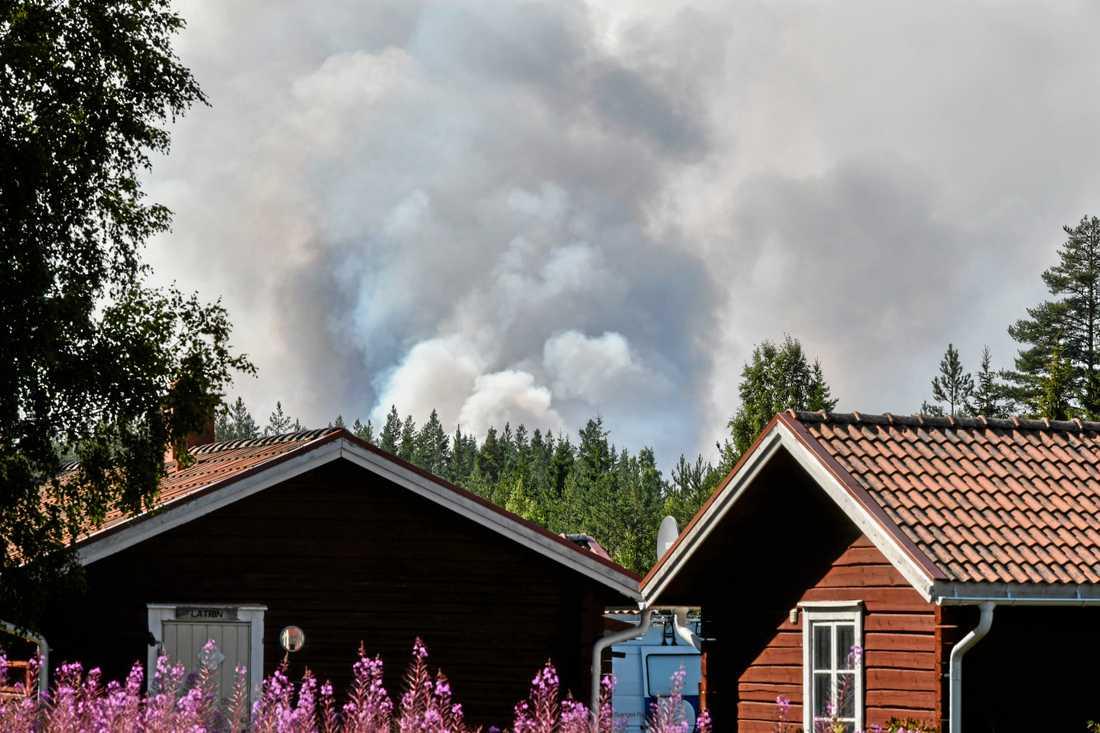 Kraftig brandrök vid en skogsbrand nära Färila, Ljusdal.