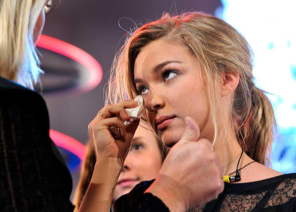 Idol 2009. Tove i tårar efter förlusten.