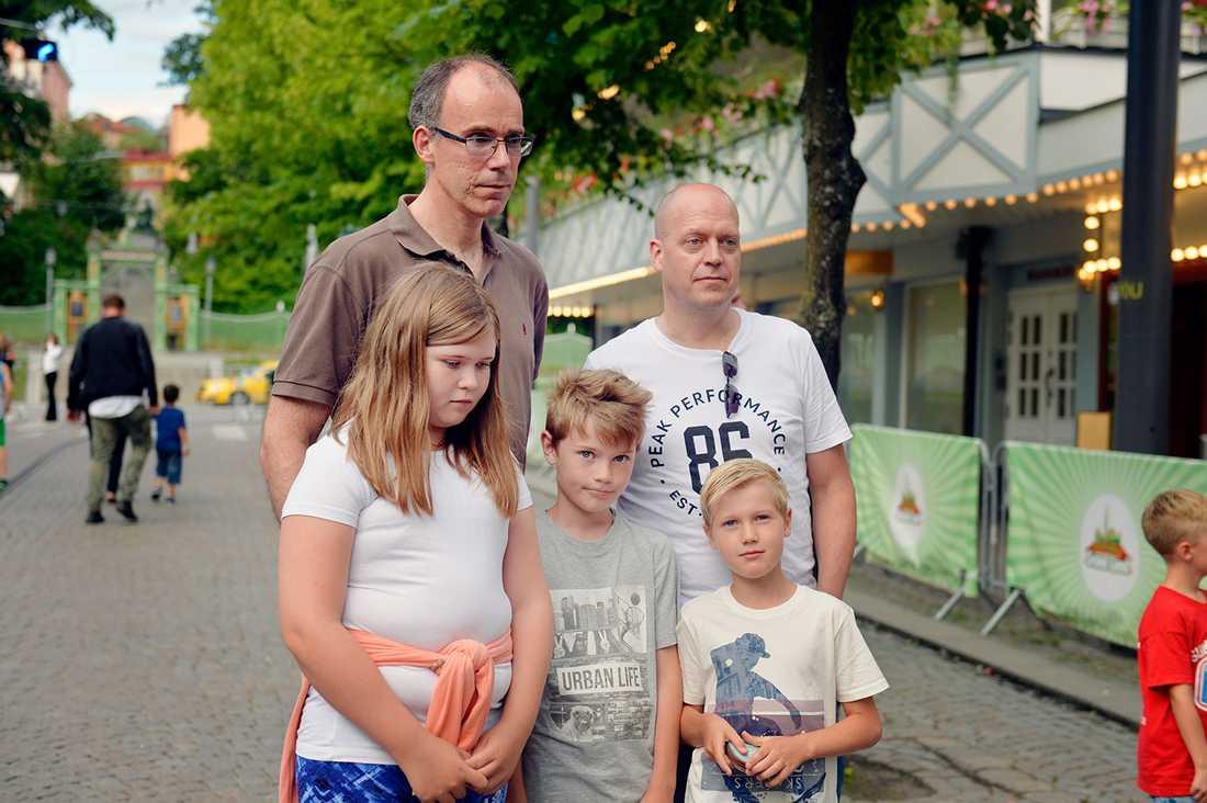 Hans Gångfeldt och Jonas Walter, med Olivia, Sixten och Hampus.