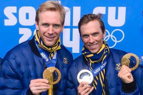 Daniel Richardsson och Johan Olsson med sina OS-medaljer från Sotji 2014.
