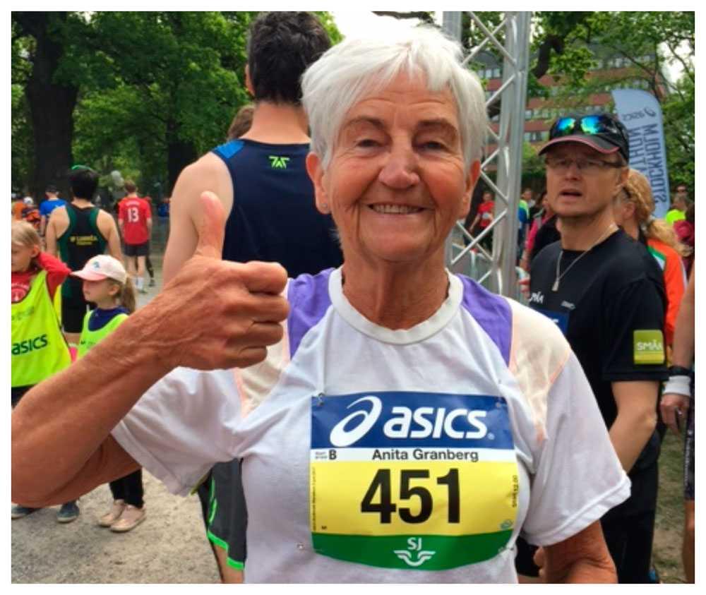 Anita Granberg, 76,  har sprungit alla Stockholm Marathon.