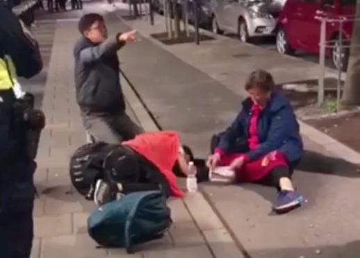 De kinesiska turisterna protesterade högljutt när de fördes bort av polis.