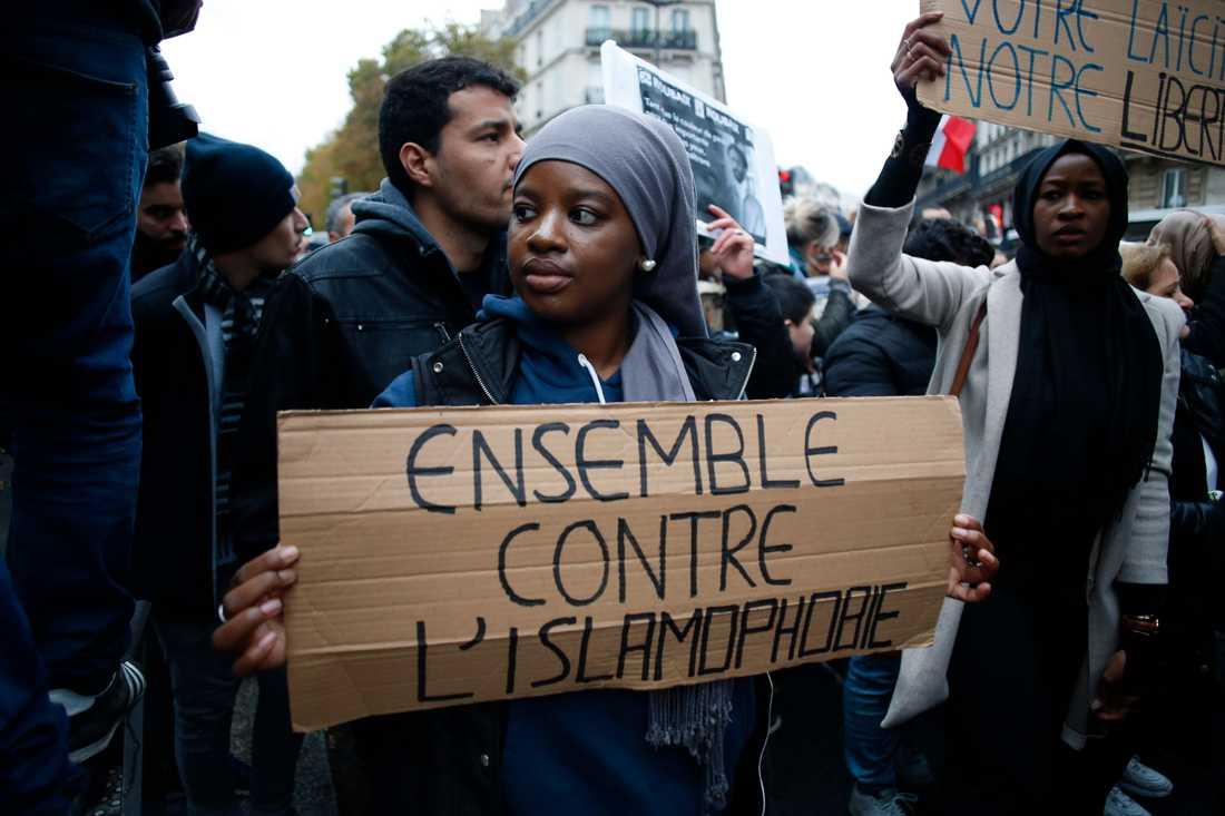 Marschen mot islamofobi i Paris, den 10 November