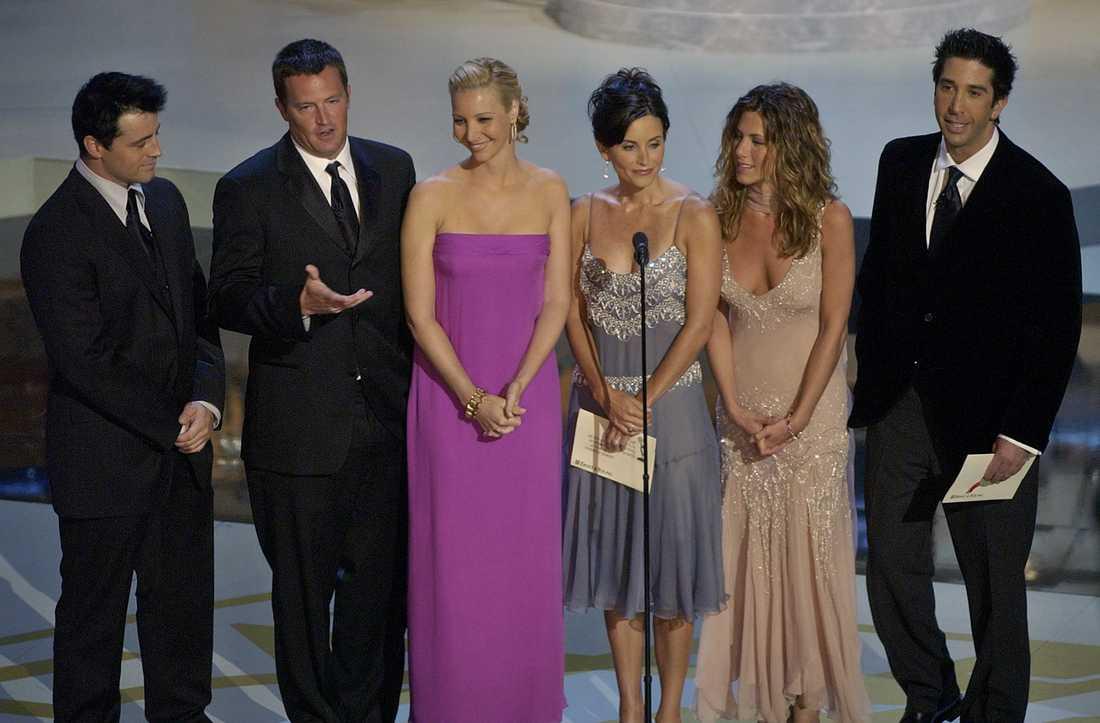 """Matt LeBlanc, Matthew Perry, Lisa Kudrow, Courteney Cox Arquette, Jennifer Aniston och David Schwimmer spelade huvudrollerna i """"Vänner"""". Arkivbild."""