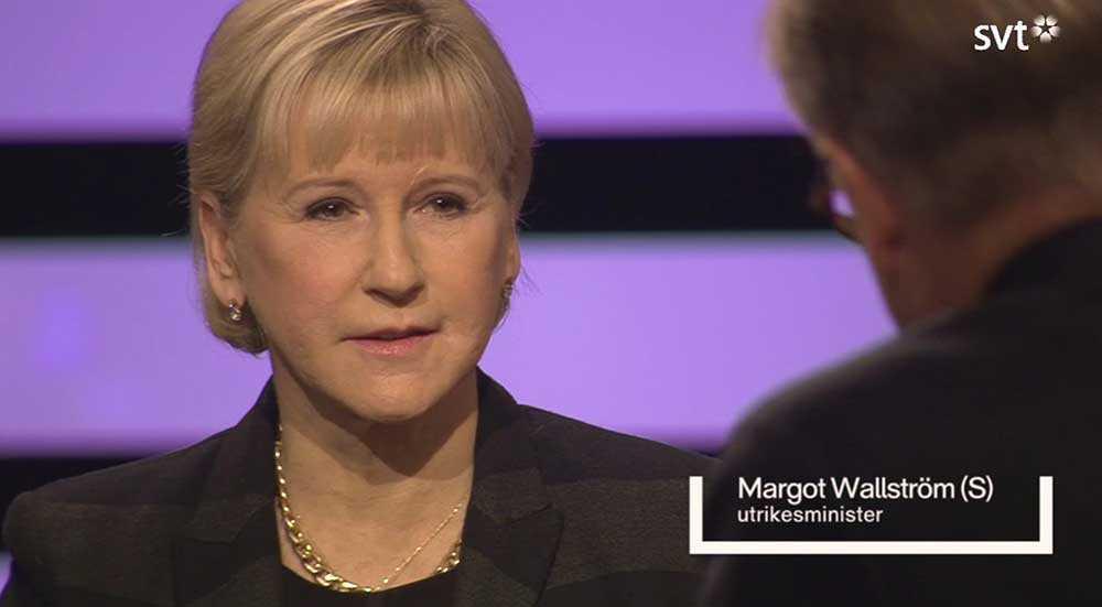 Utrikesminister Margot Wallström (S) frågades i söndagskvällens Agenda i SVT.