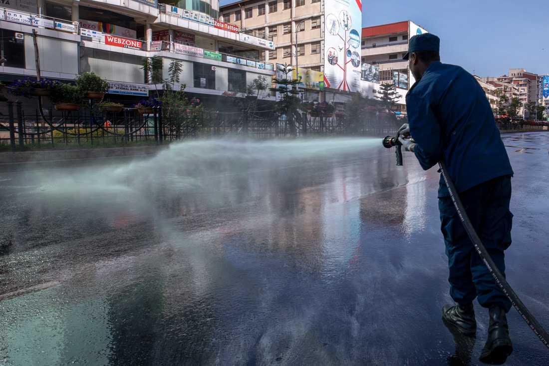 En gata i Etiopiens huvudstad Addis Abeba sprutas med desinfektionsmedel i ett försök att bromsa spridningen av coronaviruset.