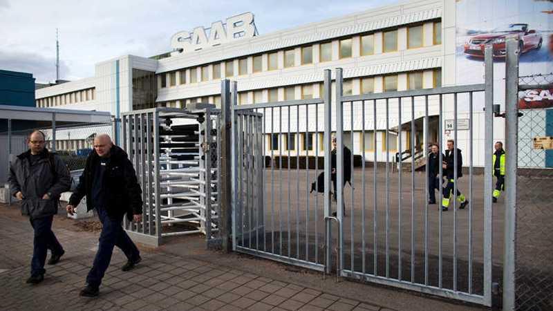 Saabs anläggning i Trollhättan stod stilla under torsdagen. Stoppet fortsätter under fredagen. Foto: Thomas Johansson
