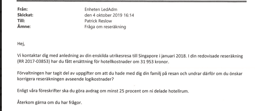 Riksdagsförvaltningens mejl till Reslow.