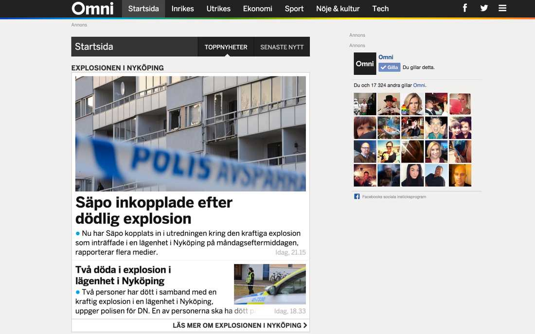 Nyhetstjänsten Omni som sitter vägg i vägg med Aftonbladet och är sprungen ur vår nyhetsredaktion är nominerad som ''Bästa nya mobilservice''.