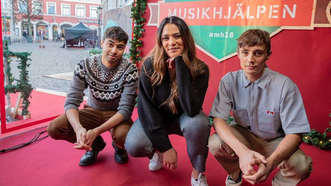 William Spetz, Farah Abadi och Daniel Adams Ray har programlett Musikhjälpen 2018.