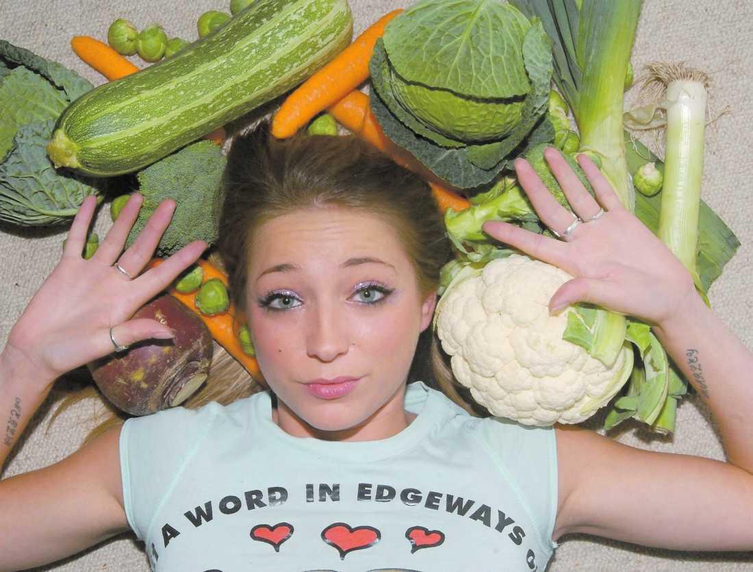 Grönsaksfobi För att kunna posera de korta sekunder det tog att ta den här bilden fick grön saksfobikern Vicki Larrieux kämpa i en timme för att ta mod till sig.