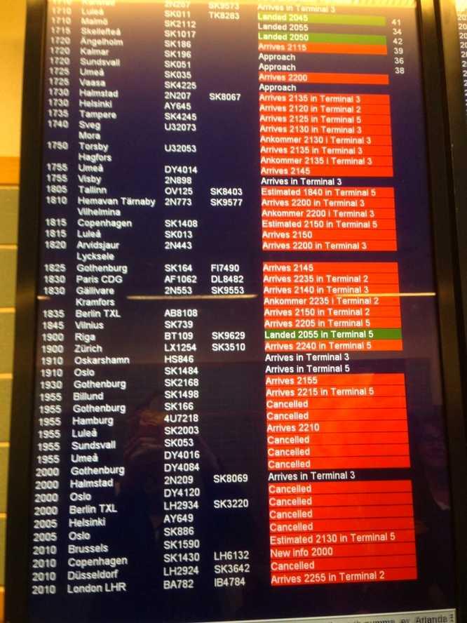 Massor med flyg har blivit inställda på Arlanda och Bromma. Bilden talar sitt tydliga språk.