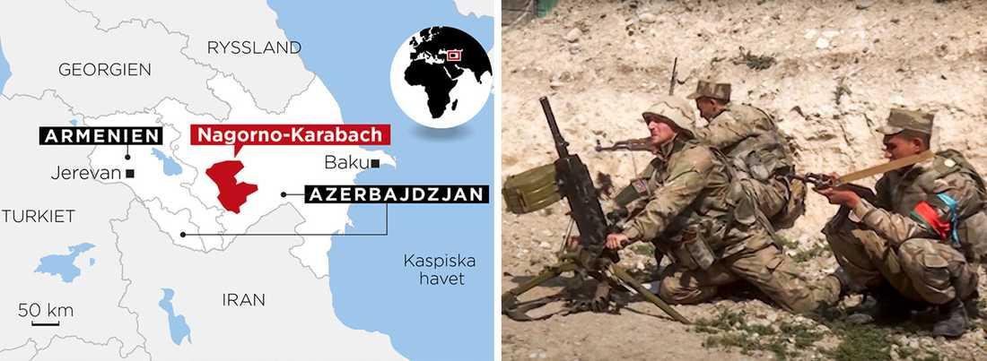 Azeriska soldater vid stridslinjen i konflikten kring Nagorno-Karabach (stillbild från det azeriska försvarsdepartementets video).