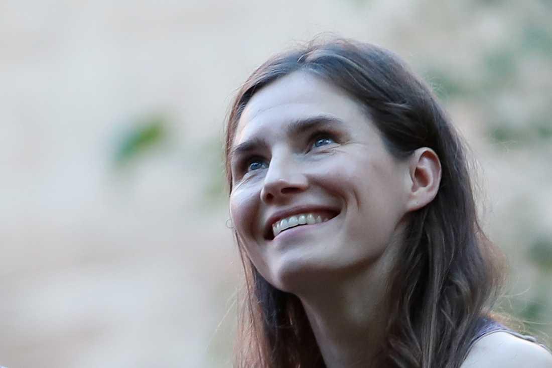 Amanda Knox i Italien för första gången sedan hon släpptes fri för mordet 2007.