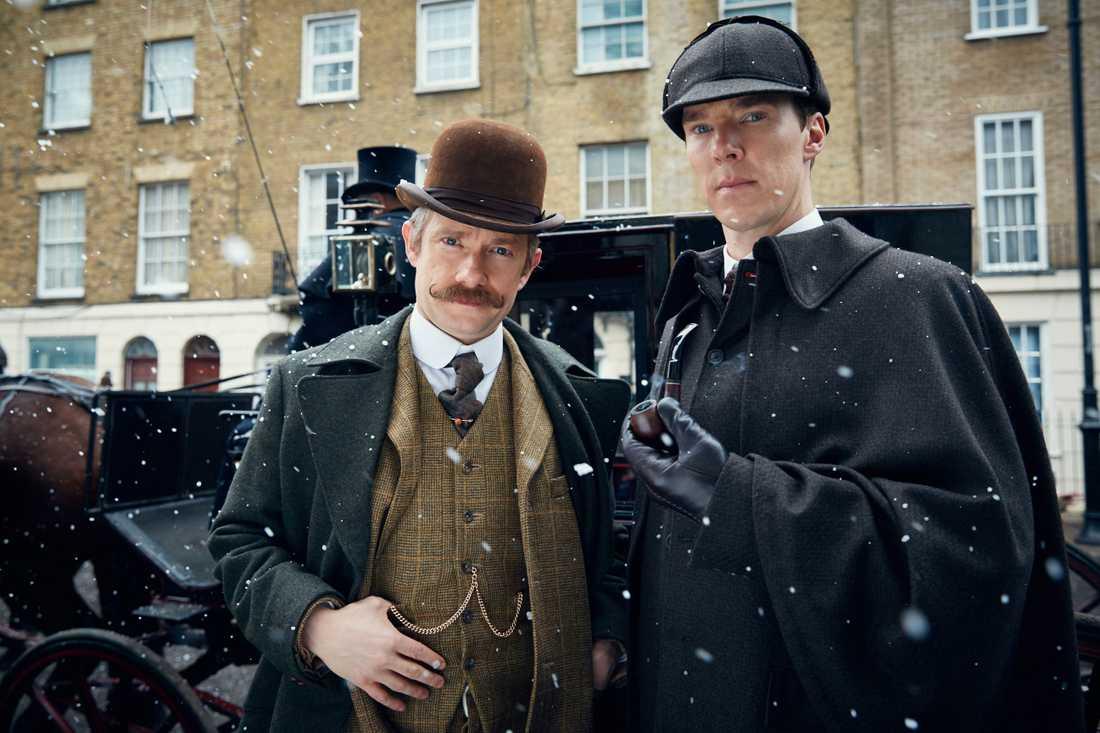 """Martin Freeman är Dr Watson och Benedict Cumberbatch är Sherlock Holmes i den populära brittiska serien """"Sherlock""""."""