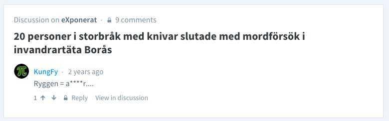 """I en diskussion kring ett bråk i Borås, som refereras på sajten Exponerat 2013, hävdar den 61-årige läkaren att om någon knivhuggits i ryggen så är det araber som ligger bakom. Eller som han skriver: """"Ryggen = a****r...."""""""