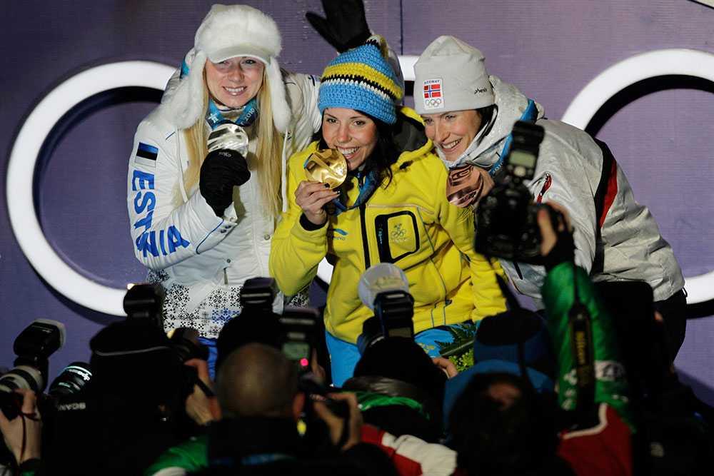 Charlotte Kalla tog guld på 10 km fritt under OS i Vancouver 2010