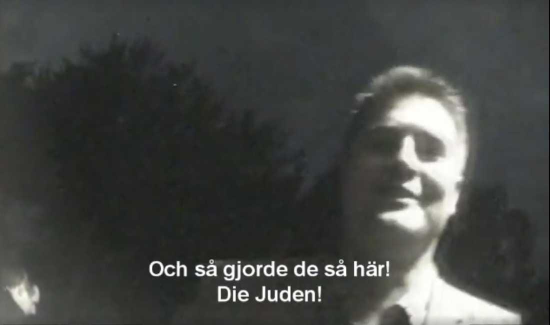 Oscar Sjöstedt i filmen som fått spridning genom Inte rasist, men:s publicering