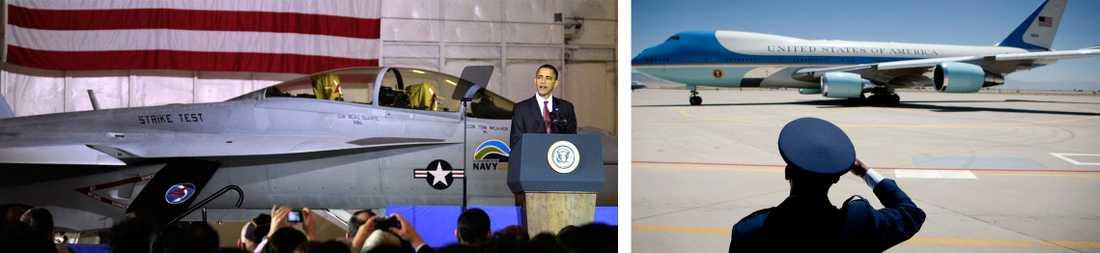 Barack Obama talar vid en presskonferens på militärbasen Joint Base Andrews Naval Air Facility i Washington, den 31 mars 2010. Höger: General Everett H. Thomas, befälhavare för Air Force Nuclear Weapons Center, står i givakt när president Obama lämnar marken.