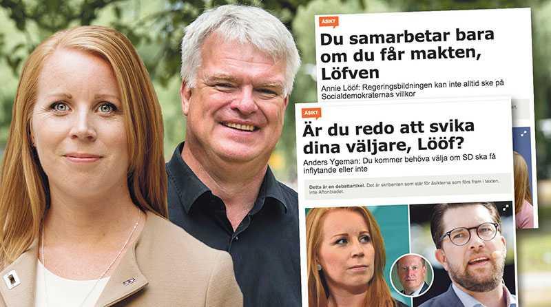 I stället för denna låtsaslek, borde S och Stefan Löfven ge besked om det finns något allvar i talet om blocköverskridande lösningar, skriver Annie Lööf och Michael Arthursson.