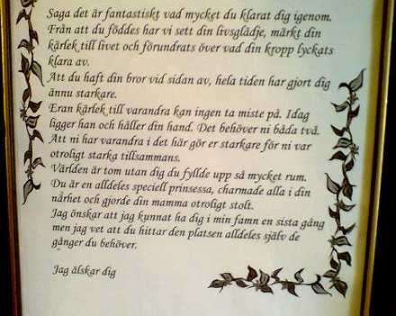 Mammans brev till sin dotter.
