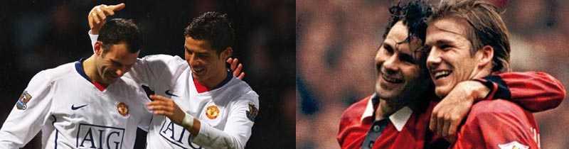 Man Uniteds Giggs skrev in sig i historieböckerna. Nu har walesaren gjort mål under alla Premier League-säsonger. På bilden till vänster jublar han med Cristiano Ronaldo efter dagens mål. På bilden till höger jublar han David Beckham efter ett mål 1994.