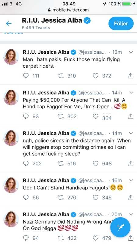 Jessica Albas Twitter blev hackad.