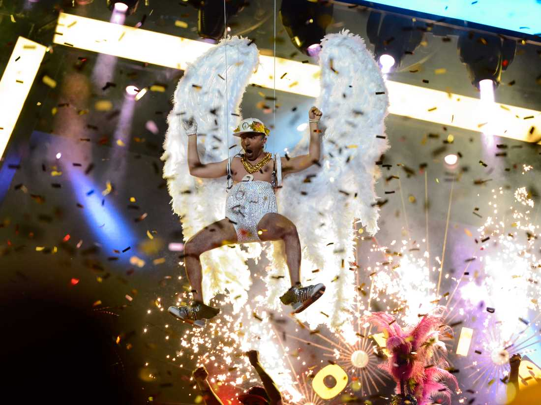 """Sean Banan hade på sig en paljettblöja och änglavingar när han tävlade i Melodifestivalen 2013 med bidraget """"Copacabanana"""". Arkivbild."""