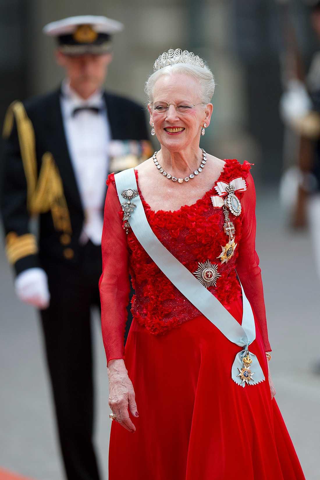 2015: Drottning Margrethe på prinsbröllop i Sverige. Arkivbild.