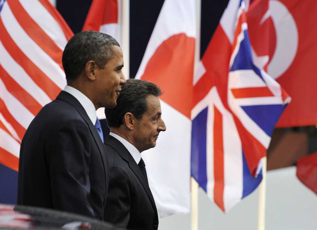 Obama tillsammans med franska presidenten Sarkozy.