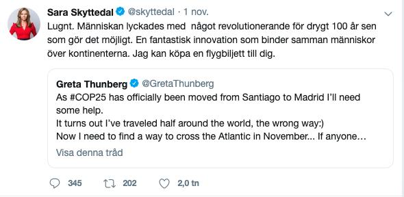 Sara Skyttedal twittrade till Greta Thunberg.