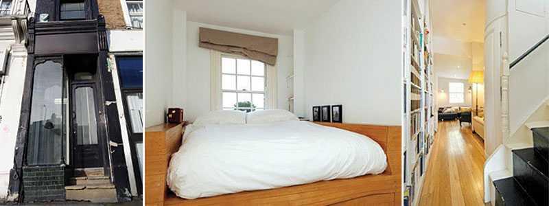 compact living Huset i Sherperd's Bush är inget för den storvuxne. Huset mäter bara 167 cm på bredden. Dubbelsängen får precis plats i sovrummet.