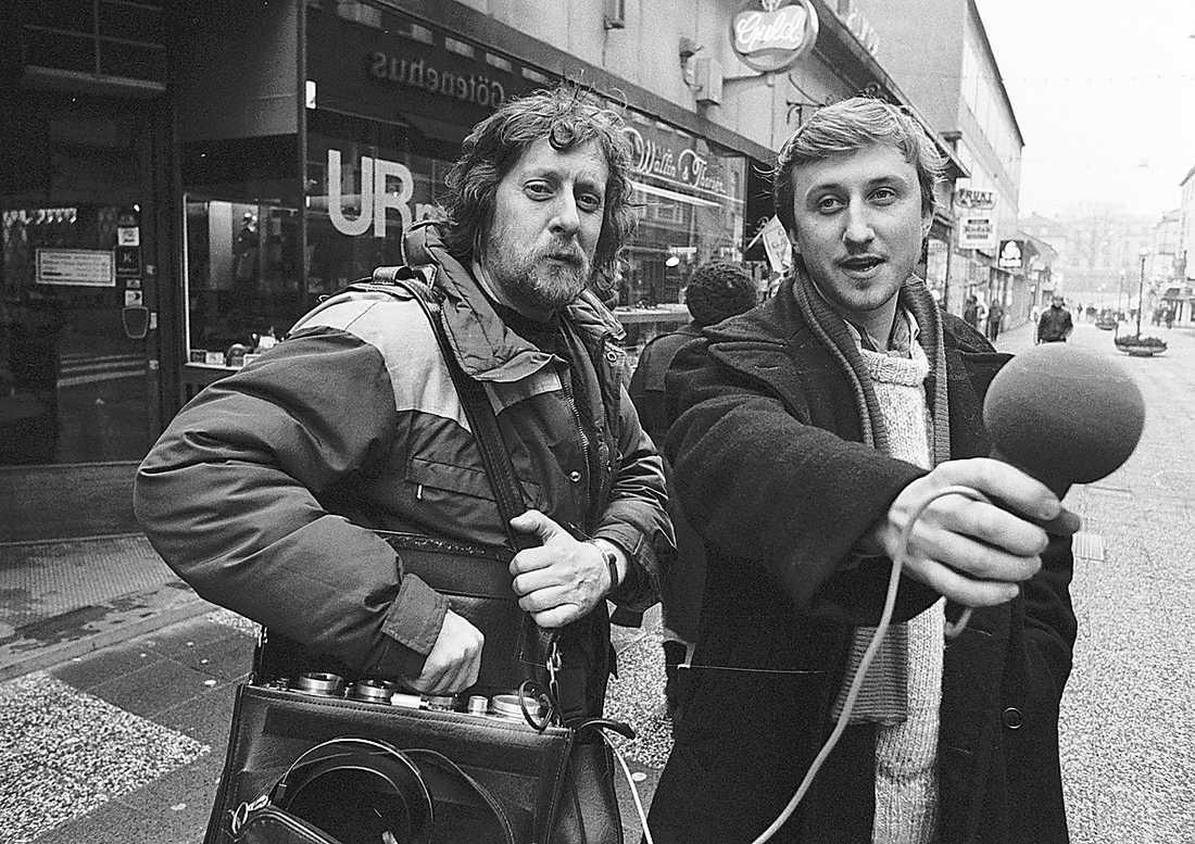 Lasse Brandeby och Janne Josefsson jobbade ihop på Radio Sjuhärad i början av 1980-talet.