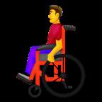Man i manuell rullstol.