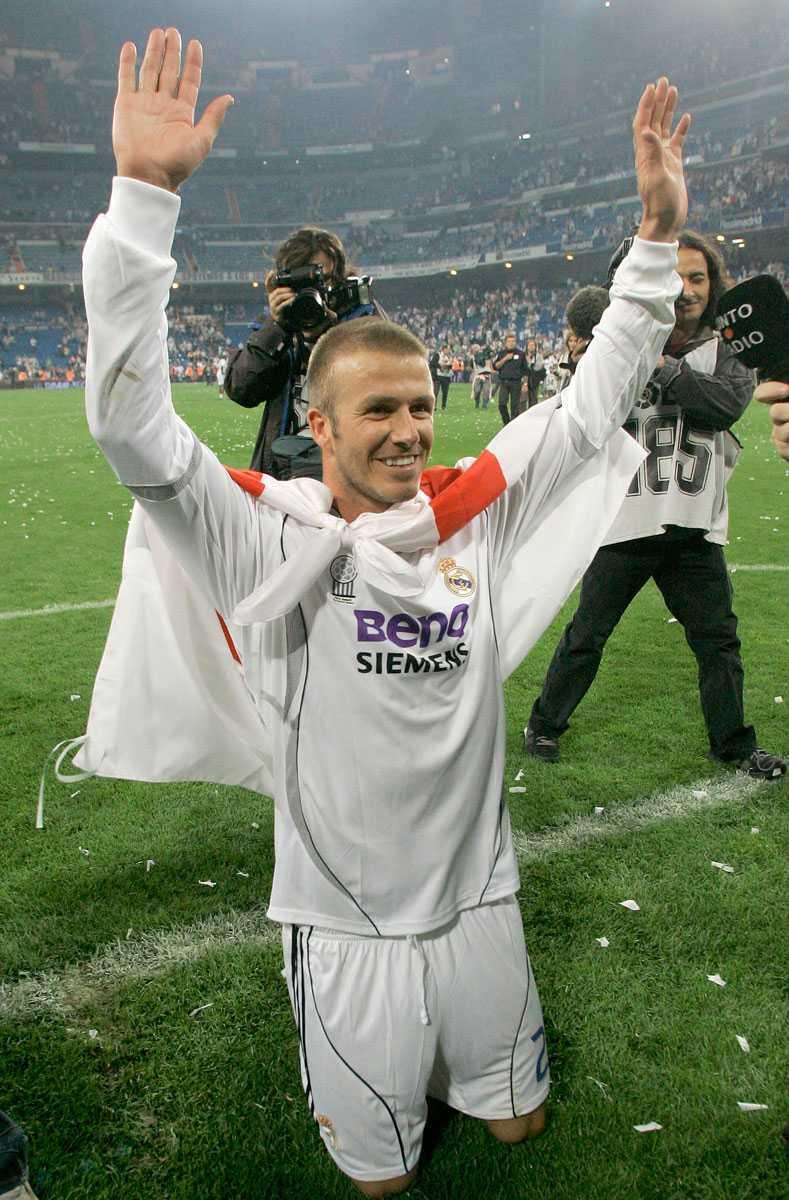 Beckhams sista match i Real Madrid. Här tackar han fansen efter sin sista match för laget mot Mallorca i juni 2007.