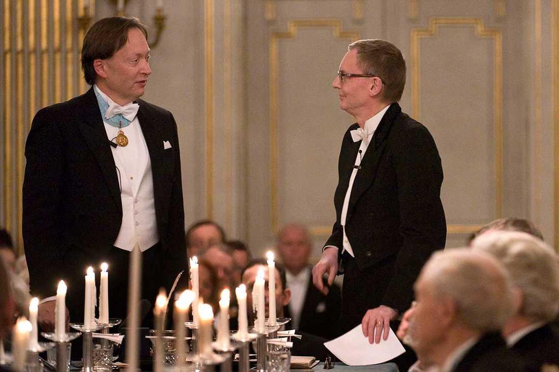 Horace Engdahl och Anders Olsson vid den senares inval 2008.