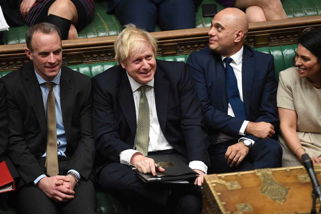 Storbritanniens premiärminister Boris Johnson vid debatten i underhuset, som formellt inledde sitt arbetsår på torsdagen.