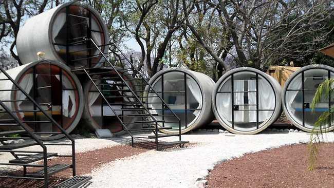 Från knappt 200 kronor kostar det att övernatta i ett rör på Tube Hotel i Mexiko.