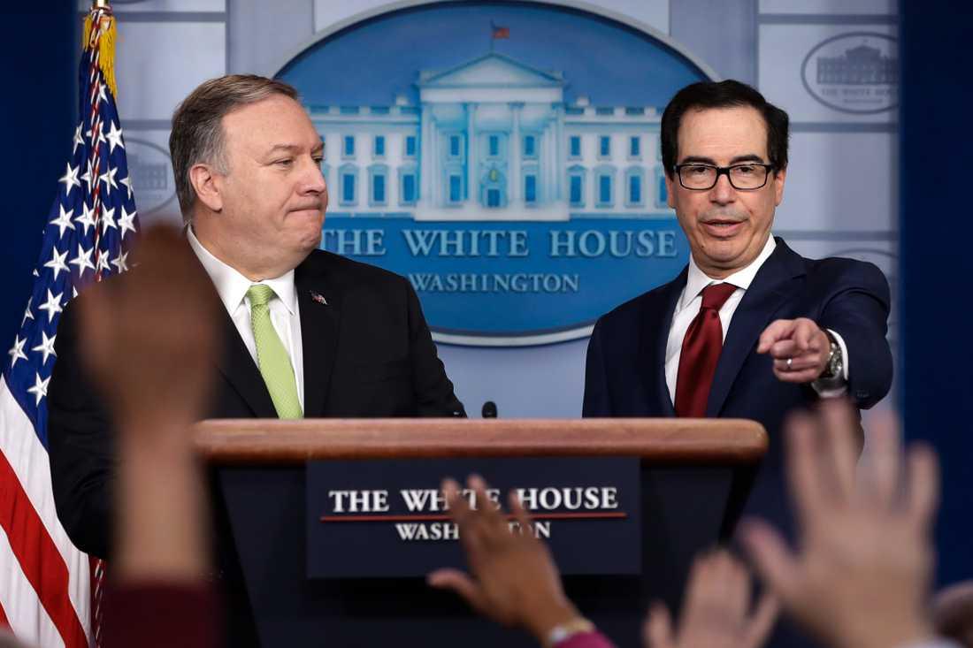 USA:s utrikesminister Mike Pompeo och finansminister Steve Mnuchin.
