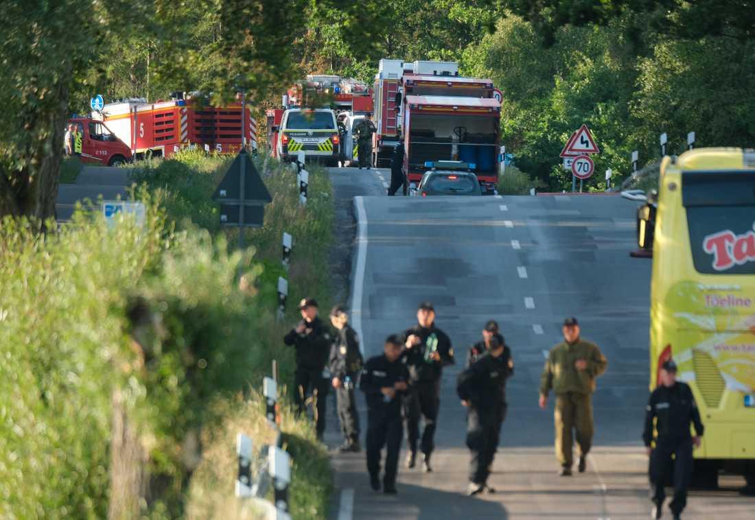 Olyckan inträffade över de Mecklenburgska sjöarna i nordöstra Tyskland.