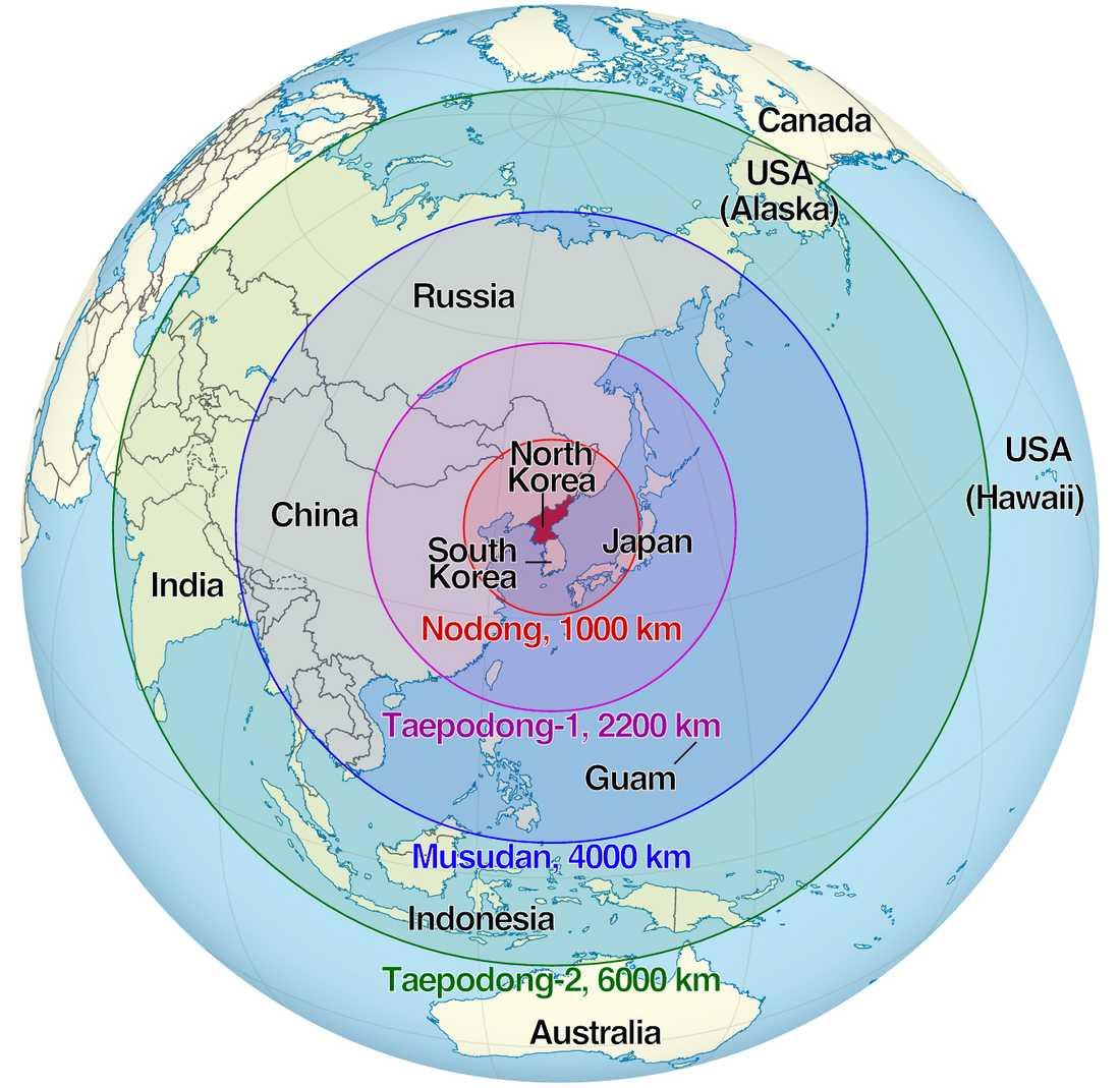 Räckviddskarta för Nordkoreas olika robotar.