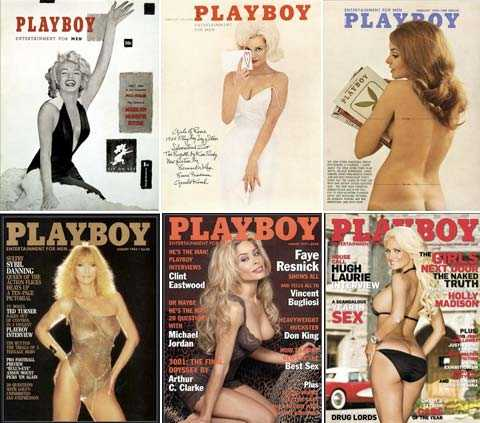 Allt smalare lekkamrater De så kallade playmates-tjejerna i har blivit smalare och bystigare. Här omslag från 1953, 1962, 1970, 1983, 1997 och 2009.