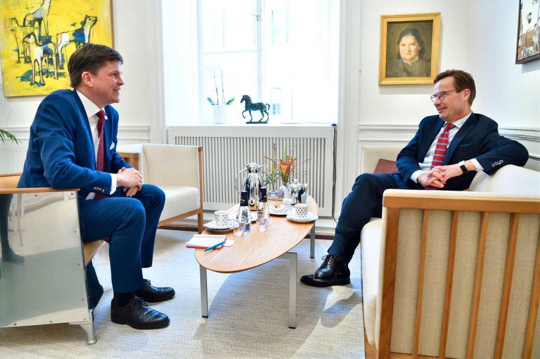 Riksdagens talman Andreas Norlén och Moderaternas partiledare Ulf Kristersson.