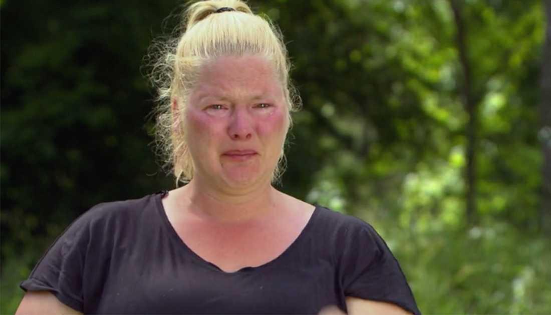 Louise Olsson föll i tårar när Farmen började brinna.