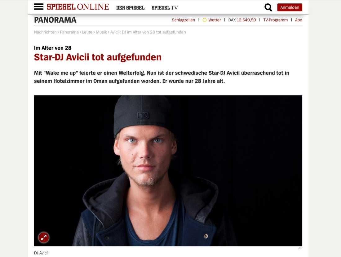 Tyska Spiegel skriver om Aviciis död.