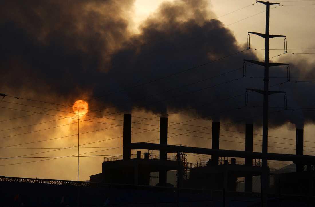 Utsläpp från en fabrik i Kina, det land som i dag står för de största utsläppen av växthusgaser i världen. Arkivbild.