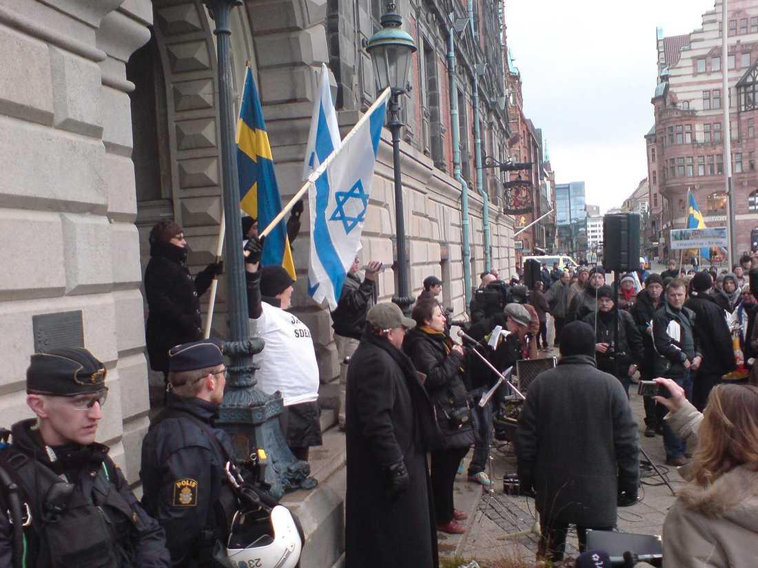 Demonstration till stöd för Israel i Malmö i februari 2009.