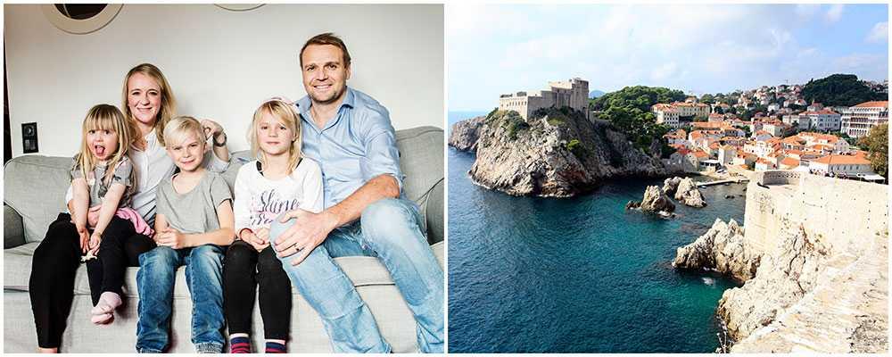 Annika och Tobias tog med barnen på en roadtrip genom Balkan. Till höger en vy över Dubrovnik.